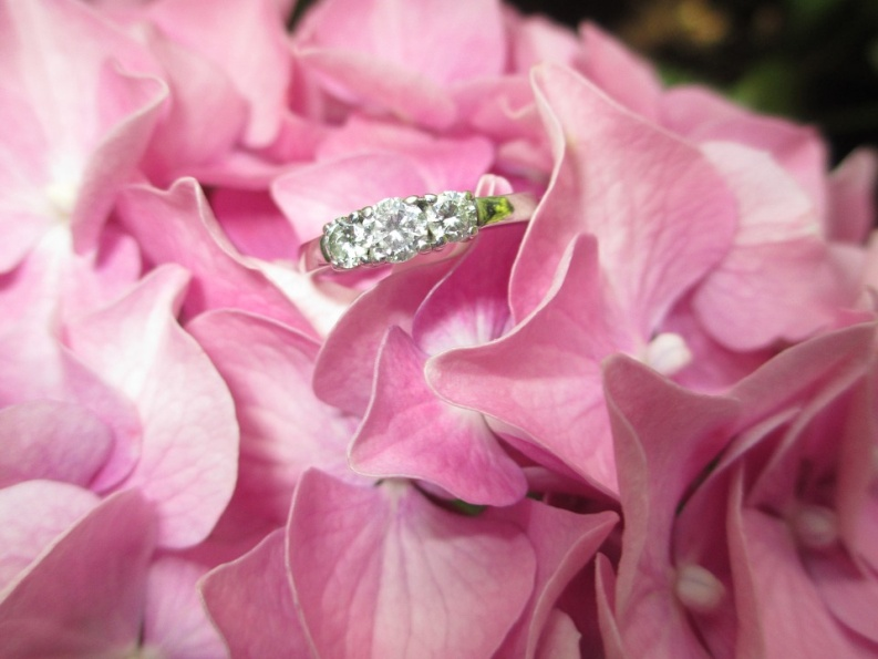 Engagement ring sitting in bed of pink flowers