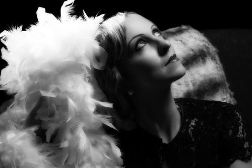 black and white headshot of actress