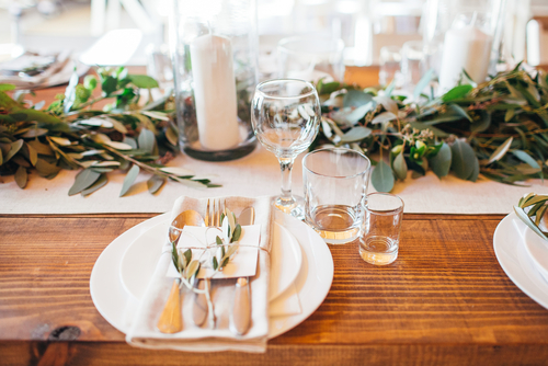 dining setting at wedding reception