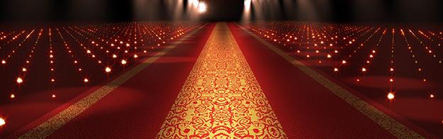glamorous lit red carpet