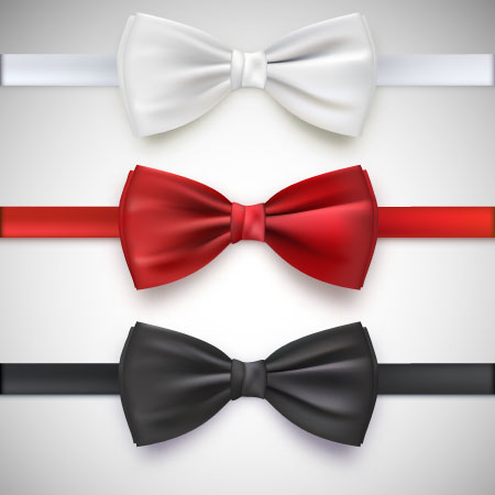 realistic white black and red bow ties