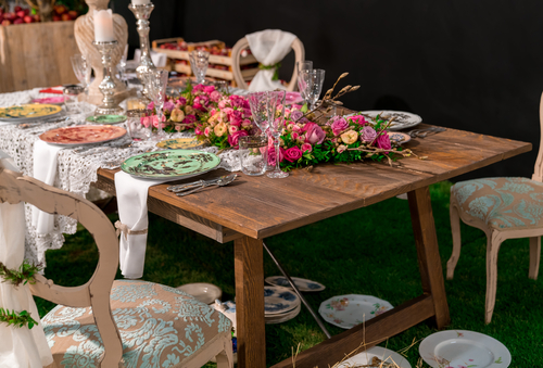rustic bride and groom table setting