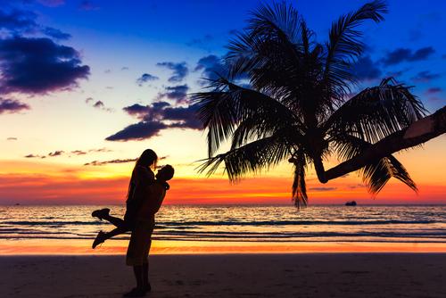 Couple on beach in bali