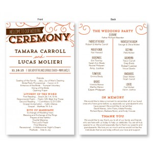 wedding ceremony invitations front back
